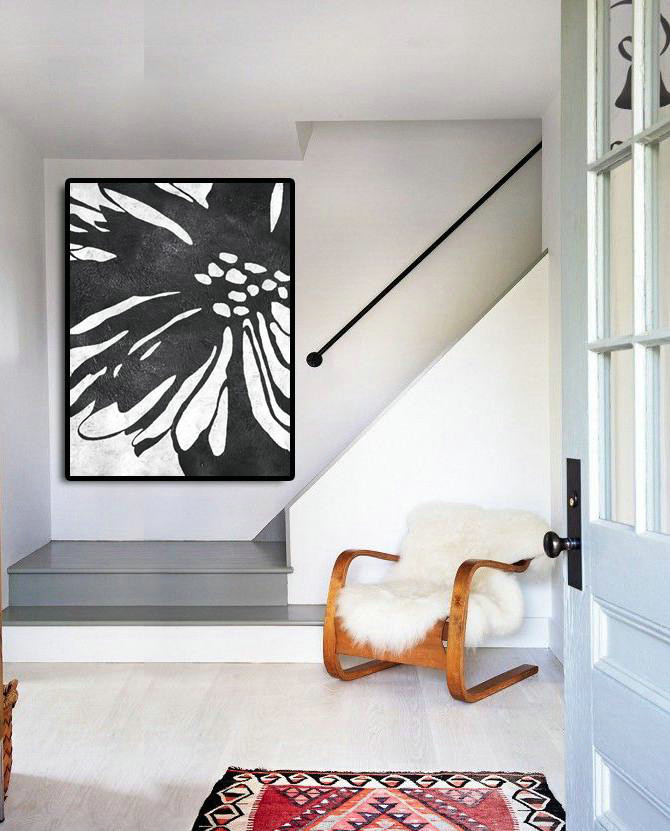 Handmade Painting Large Abstract Art,Black And White Minimal Painting On Canvas,Large Canvas Art,Modern Art Abstract Painting #J0E7