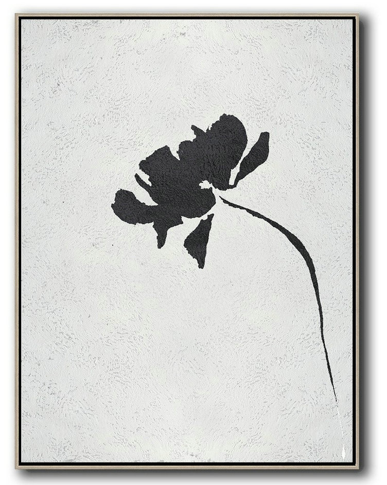 Big Art Canvas,Black And White Minimal Painting On Canvas,Abstract Painting For Home #S4W5
