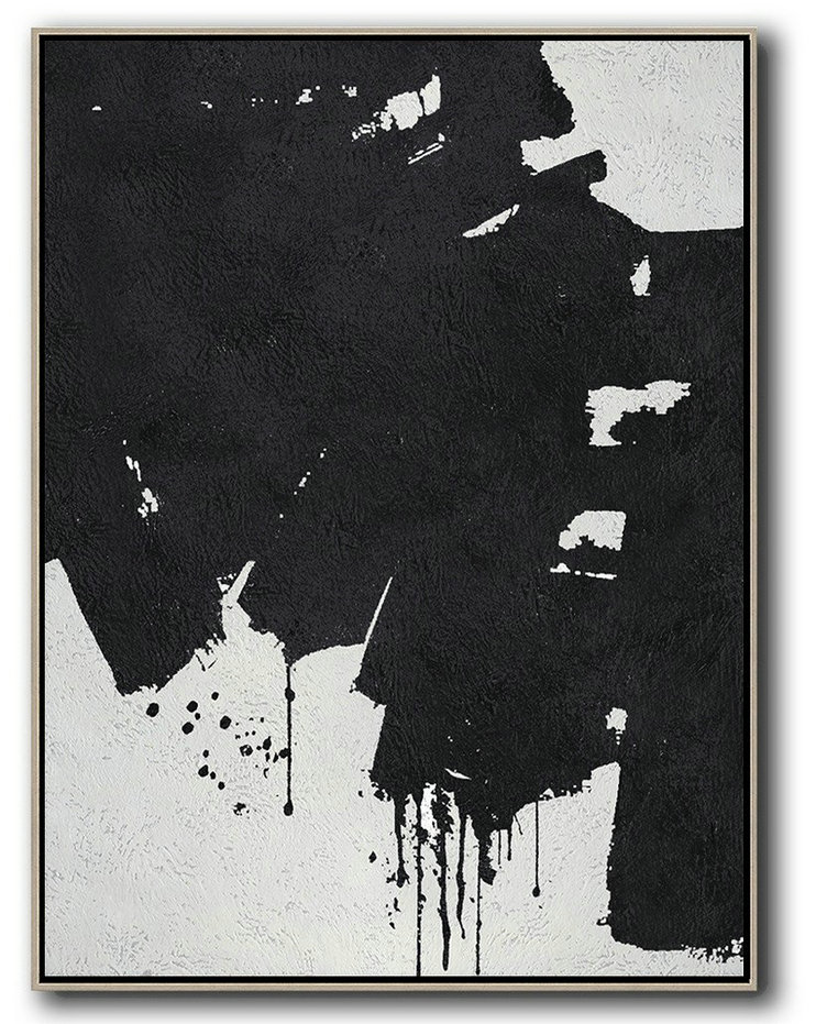 Canvas Wall Art,Black And White Minimal Painting On Canvas,Contemporary Wall Art #R0F9