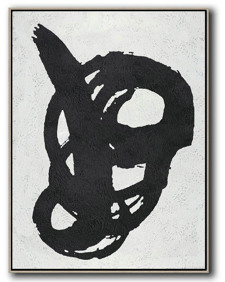 Wall Art Painting,Black And White Minimal Painting On Canvas,Contemporary Art Canvas Painting #S4Q8