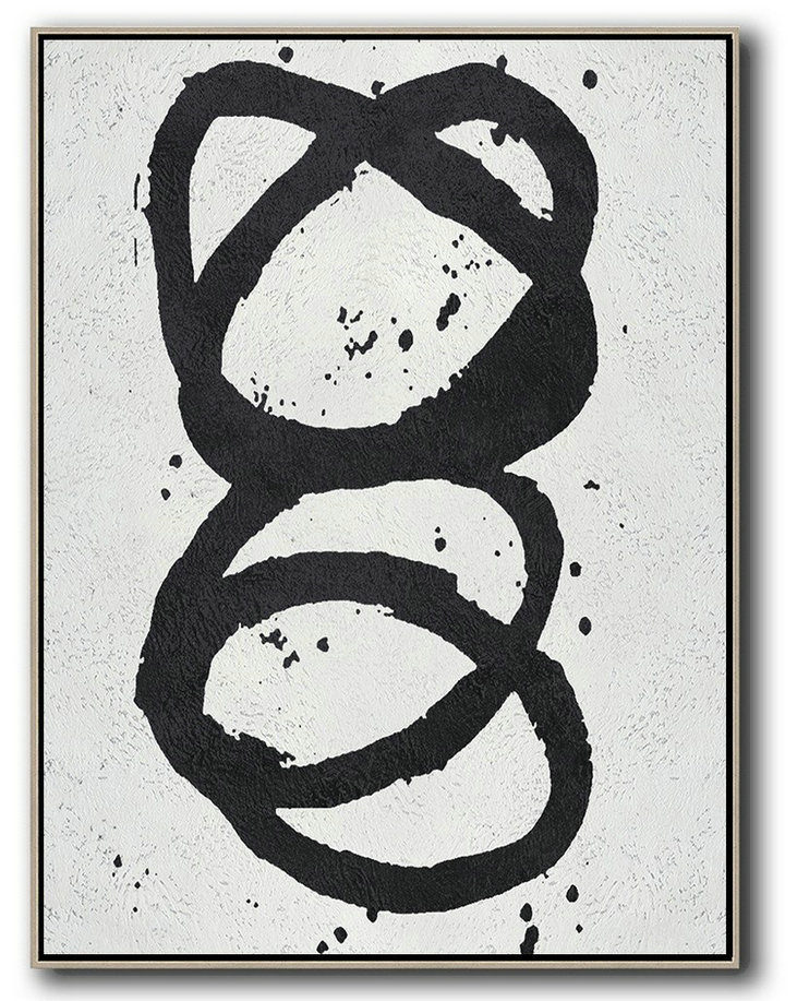 Handmade Acrylic Painting,Black And White Minimal Painting On Canvas,Hand Painted Abstract Art #A3D5