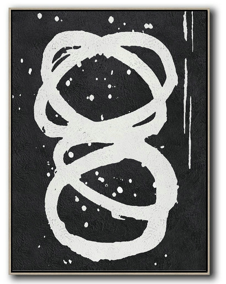 Acrylic Minimailist Painting,Black And White Minimal Painting On Canvas,Hand-Painted Canvas Art #Q2R4