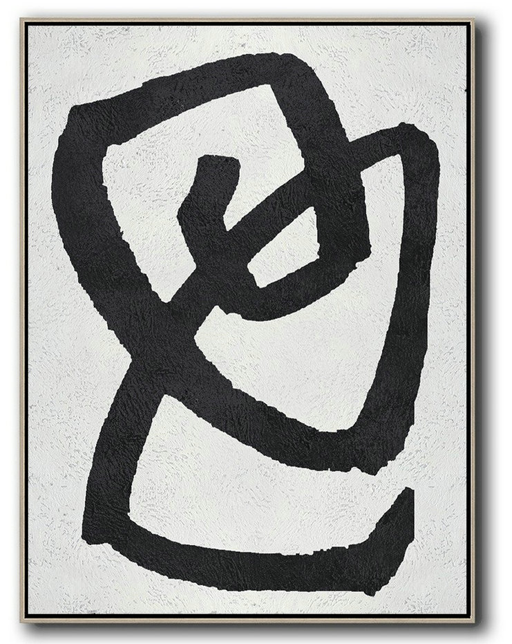 Hand Made Abstract Art,Black And White Minimal Painting On Canvas,Modern Art #H2W8