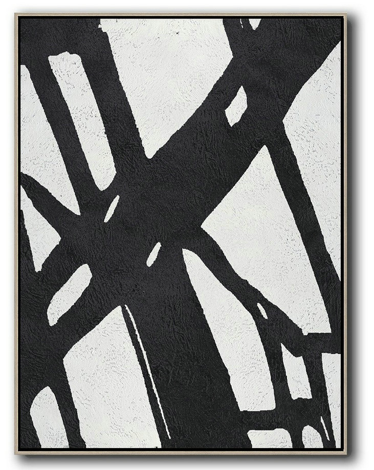 Large Abstract Art,Black And White Minimal Painting On Canvas,Huge Canvas Art On Canvas #O4V5