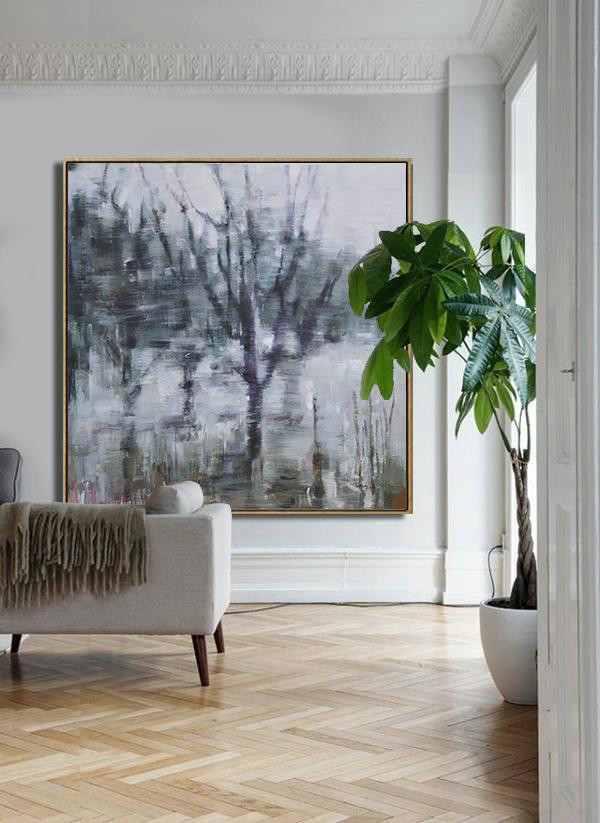 Original Painting Hand Made Large Abstract Art,Abstract Landscape Oil Painting,Hand Painted Acrylic Painting White,Dark Green,Grey,Purple