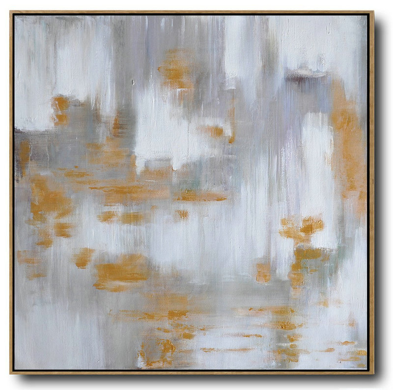 Large Abstract Art,Large Abstract Landscape Oil Painting On Canvas,Large Abstract Wall Art White,Grey,Yellow