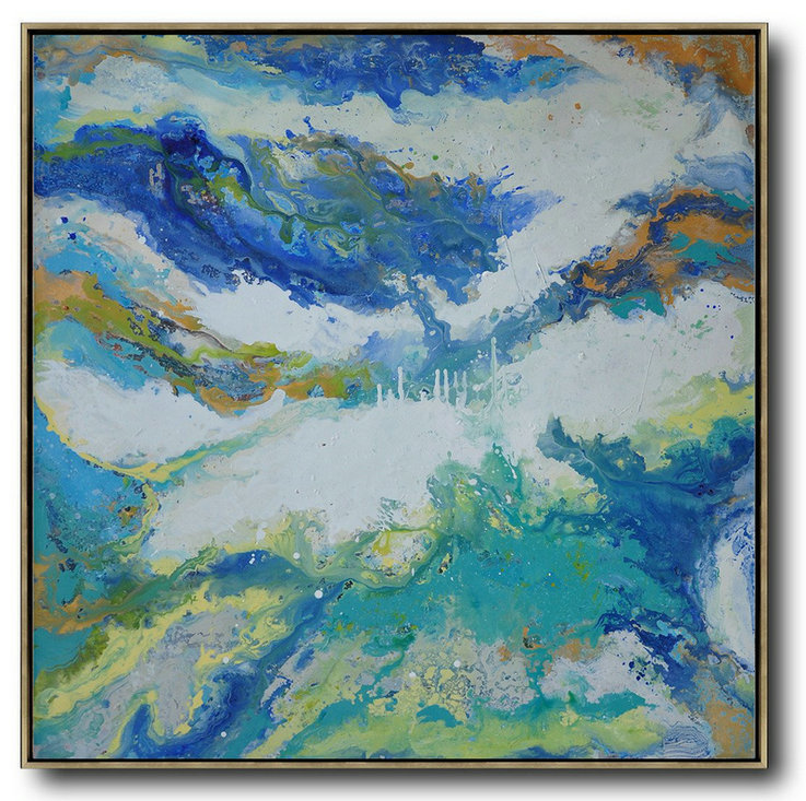 Handmade Extra Large Contemporary Painting,Contemporary Oil Painting,Modern Paintings White,Orange,Blue,Lake Blue