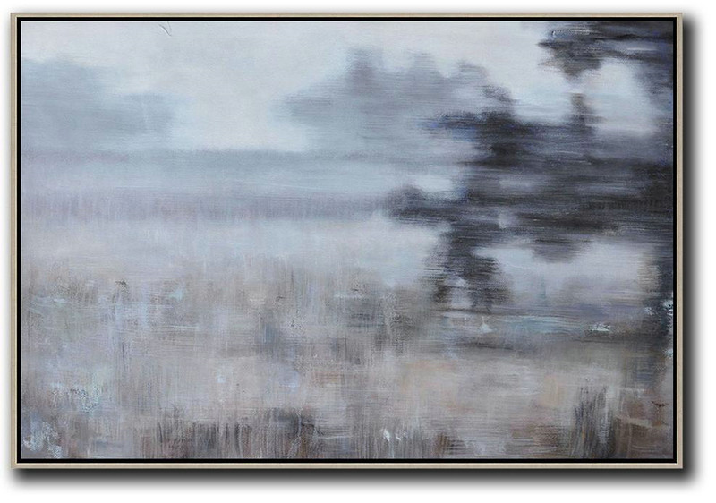 Large Abstract Art Handmade Painting,Horizontal Abstract Landscape Oil Painting On Canvas,Huge Abstract Canvas Art White,Grey,Brown,Black