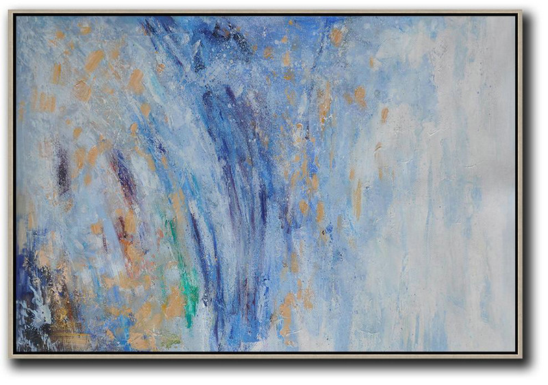 Hand Painted Extra Large Abstract Painting,Horizontal Abstract Landscape Oil Painting On Canvas,Large Wall Canvas Blue,Grey,Yellow