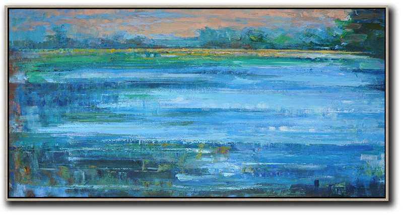 Abstract Painting Extra Large Canvas Art,Panoramic Abstract Landscape Painting,Original Art Blue,Earthy Yellow ,Green