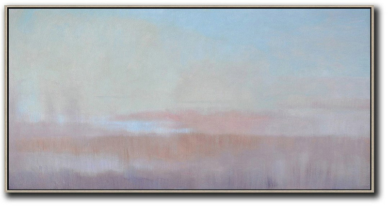 Abstract Painting Extra Large Canvas Art,Panoramic Abstract Landscape Painting,Original Art Sky Blue,Light Yellow,Pink