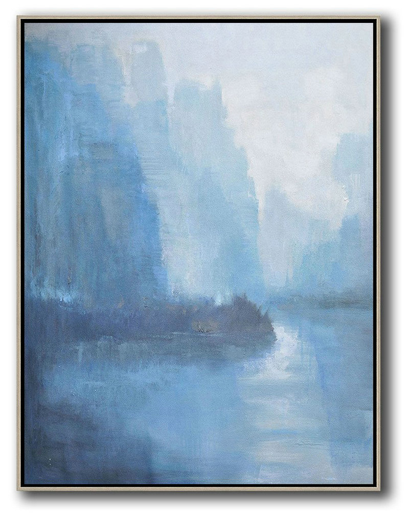 Large Abstract Art,Abstract Landscape Painting,Large Wall Art Canvas White,Blue,Grey
