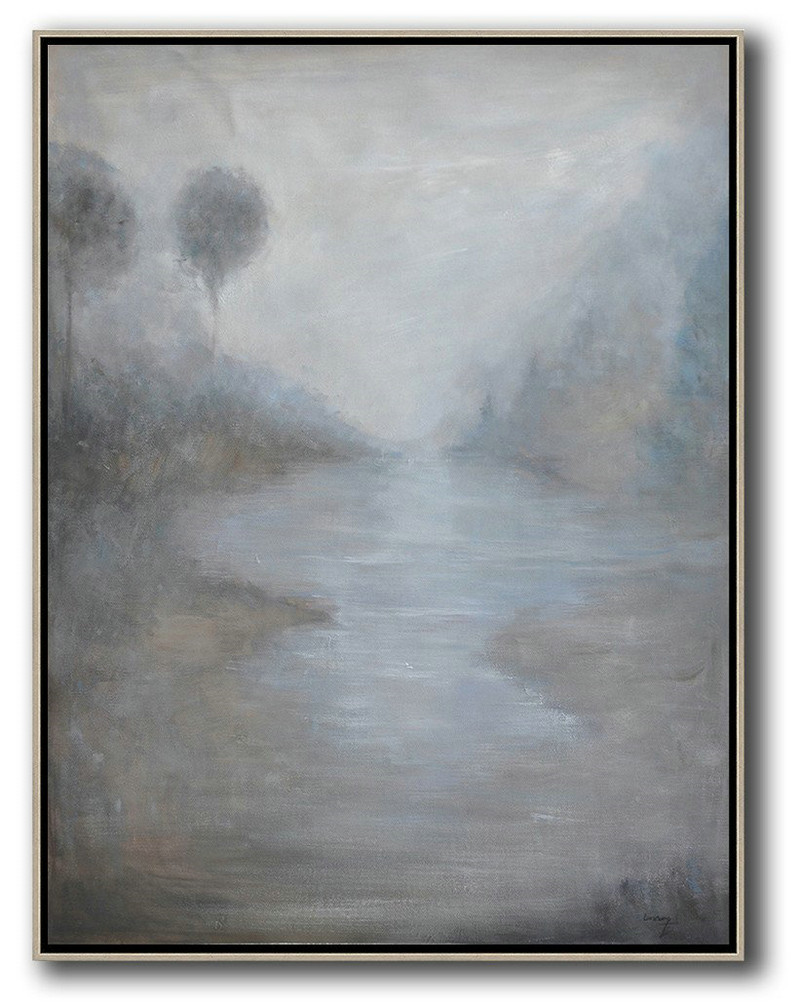 Extra Large Painting,Abstract Landscape Painting,Large Living Room Decor White,Grey,Black