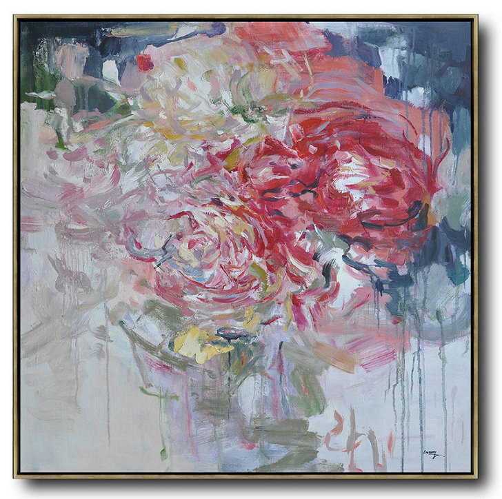 Abstract Painting Extra Large Canvas Art,Abstract Flower Oil Painting Large Size Modern Wall Art,Large Paintings For Living Room #J0K9